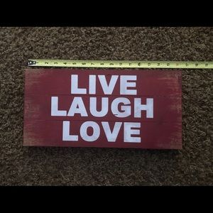 Wooden live laugh love decor sign